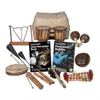 This is a product image of the World Percussion - 10 Player Class Pack. The products are laid out and include the following; Back Row - Storage Basket. Second Row - One Triangle on Stand, one Bongos (African Bongos), one Maraca - Coconut, pair. Third Row - One Agogo Bells - Medium, Andy Gleadhill's Class Percussion Book, Andy Gleadhill's Percussion Buddies Book, one Thumb Piano (Mbira) - natural, coconut. Front Row - One Tambourine, one Guiro - Small - bamboo, one Clapsticks (Claves) - 23cm, one Bento Shaker, one Gamelan (Metallophone) - C major.