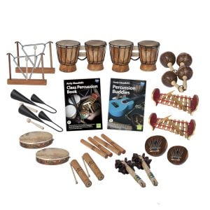 This is a product image of the World Percussion - 20 Player Class Pack. The products are laid out and include the following; Back Row - Two Triangle on Stand, two Bongos (African Bongos), two Maraca - Coconut, pair. Second Row - Two Agogo Bells - Medium, Andy Gleadhill's Class Percussion Book, Andy Gleadhill's Percussion Buddies Book, two Gamelan (Metallophone) - C major. Bottom Row - Two Tambourine, two Guiro - Small - bamboo, two Clapsticks (Claves) - 23cm, two Bento Shaker, two Thumb Piano (Mbira) - natural, coconut.