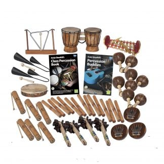 This is a product image of the World Percussion - 30 Player Budget Class Pack. The products are laid out and include the following; Back Row - One Triangle on Stand, one Bongos (African Bongos), one Gamelan (Metallophone) - C major. Second Row - Two Agogo Bells - Medium, Andy Gleadhill's Class Percussion Book, Andy Gleadhill's Percussion Buddies Book, four Maraca - Coconut, pair. Third Row - Six Guiro - Small - bamboo, seven Clapsticks (Claves) - 23cm. Bottom Row - Four Bento Shaker, three Thumb Piano (Mbira) - natural, coconut.