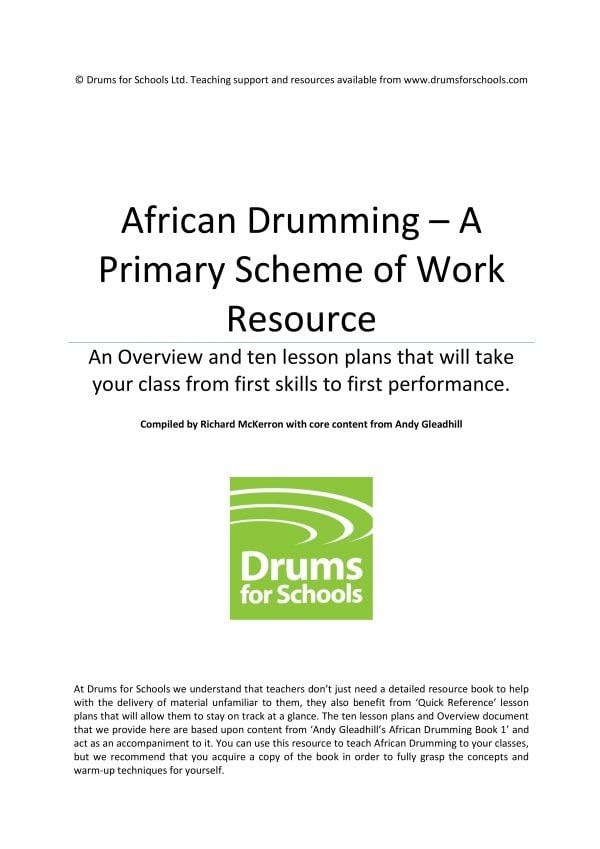 Image showing of Title page of Andy Gleadhill's African Drumming - A Primary Scheme of Work