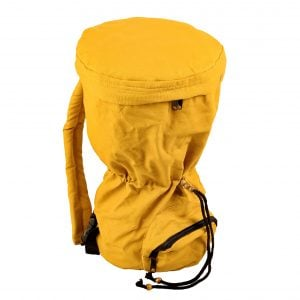This is a product image of djembe drum bag standard 8in diameter, 40cm high, canvas, from reversed angle. The bag is in yellow colour canvas material.