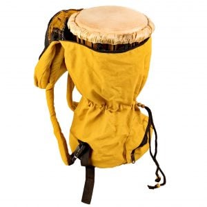 This is a product image of djembe drum bag standard 8in diameter, 40cm high, canvas, opened. The bag is in yellow colour canvas material.