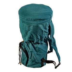 This is a product image of djembe drum bag standard 10in diameter, 50cm high, canvas. The bag is in green canvas material.