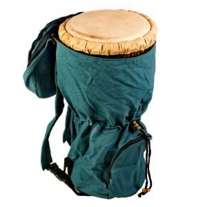 This is a product image of djembe drum bag standard 10in diameter, 50cm high, canvas, opened. The bag is in green canvas material.