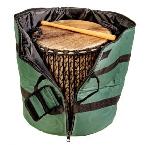 This is a product image of Storage carry bag for kenkeni bamboo drum, opened.