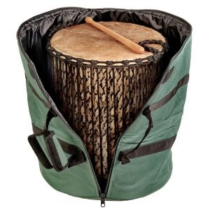 This is a product image of Storage carry bag forSangban bamboo drum, fully opened