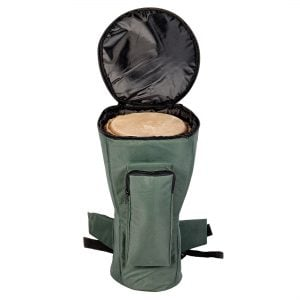 This is a product image of Drums for Schools' Djembe bag nylon for 12 inch diameter, 60cm high, opened.