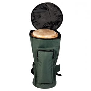 This is a product image of Drums for Schools' Djembe bag nylon for 14 inch diameter, 65cm high, opened.