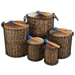This is a product image of Drums for Schools' Dundun Bamboo Drums all sizes.