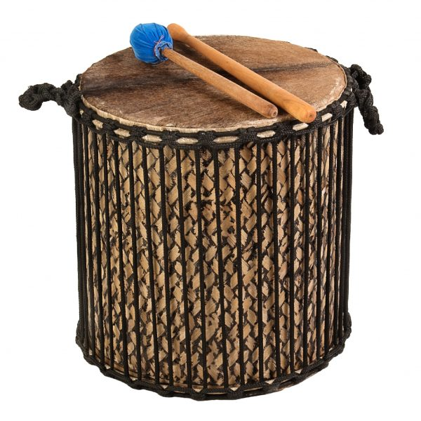 This is a product image of Drums for Schools' Mini Kenkeni Bamboo Drum, 12in diameter, 35cm high