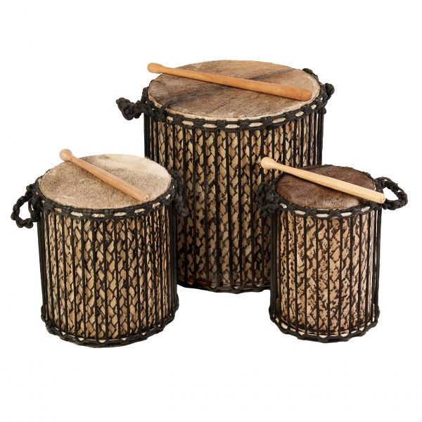 This is a product image of Drums for Schools' Small set Dundun Bamboo Drums.