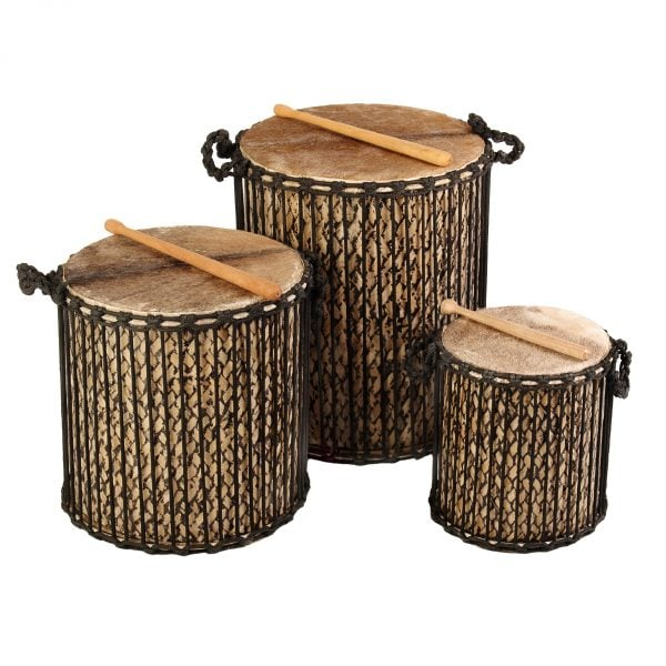 This is a product image of Drums for Schools' Medium set Dundun Bamboo Drums.