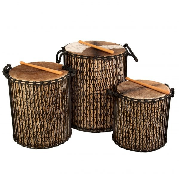 This is a product image of Drums for Schools' Large set Dundun Bamboo Drums.