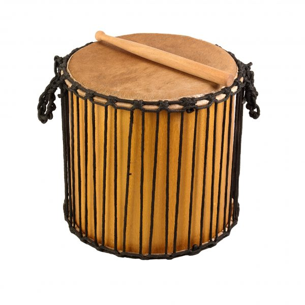 This is a product image of Drums for Schools' Kenkeni Recycled wood, 14in diameter, 40cm high.