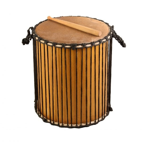 This is a product image of Drums for Schools' Sangban Recycled wood, 16in diameter, 50cm high.