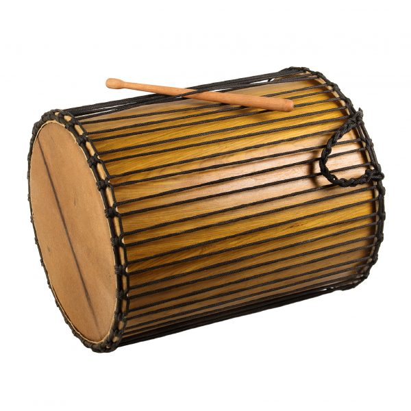 This is a product image of Drums for Schools' Dundun Recycled wood, 18in diameter, 60cm high, side angle shot.