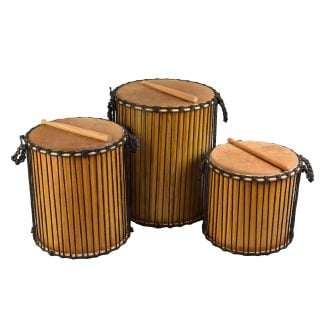 This is a product image of Drums for Schools' Large set of Dundun Recycled wood.