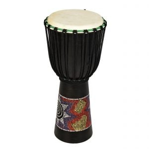 This is a product image of Drums for Schools' Djembe budget 8 inch diameter, 50cm high, painted