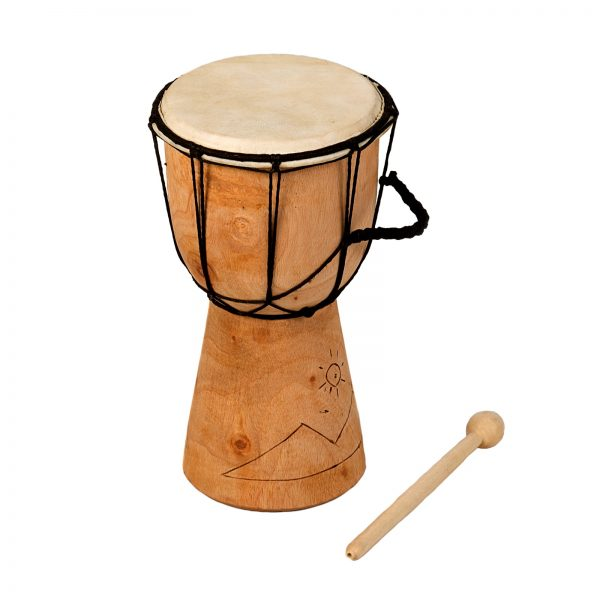 This is a product image of Drums for Schools' Djembe budget 5 inch diameter, 25cm high, Early Years carved.