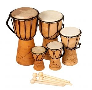 This is a product image of Drums for Schools' Mixed Pack of 5 Budget Djembe Drums 12-15-20-25-30cm high, Early Years