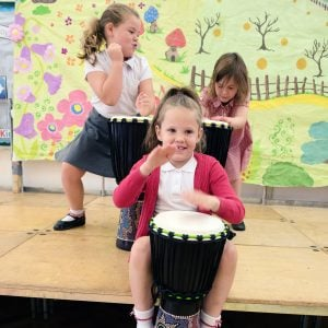 This is a product image of Drums for Schools' Djembe budget 8 inch diameter, 50cm high, painted, played.