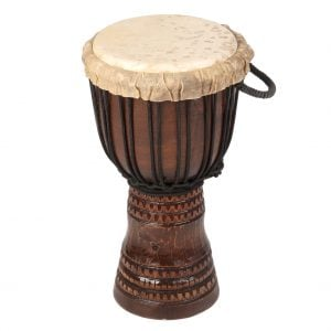 This is a product image of Drums for Schools' djembe drum standard 8in diameter 40cm high, deep carved.