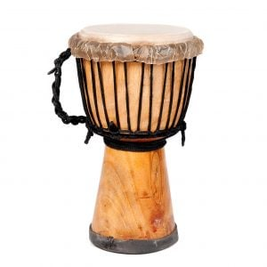 This is a product image of Drums for Schools' djembe drum standard 7in diameter 30cm high natural, side shot.