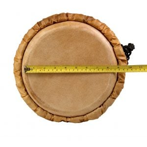 This is a product image of Drums for Schools' djembe drum standard 9in diameter 50cm high natural, image showing the diameter of the head.