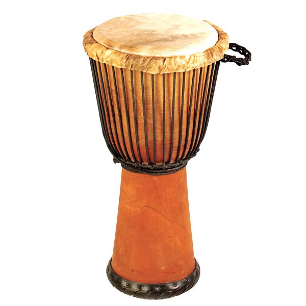 This is a product image of Drums for Schools' djembe drum standard 10,5in diameter 60cm high natural