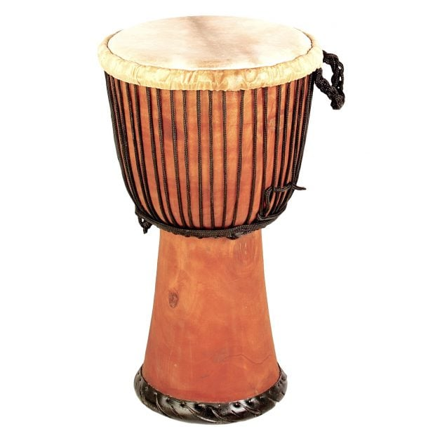 This is a product image of Drums for Schools' djembe drum standard 12in diameter 65cm high natural