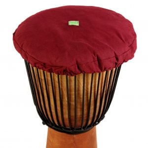 This is a product image of Drums for Schools' drum hat for 12 inch diameter drum. It is in maroon waterproof canvas material.