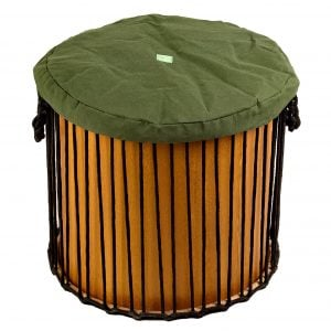 This is a product image of Drums for Schools' drum hat for 16 inch diameter drum. It is in green waterproof canvas material.