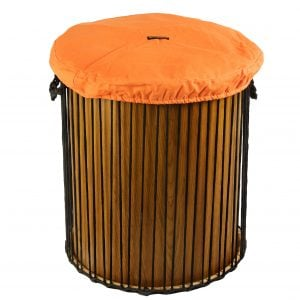 This is a product image of Drums for Schools' drum hat for 22 inch diameter drum. It is in orange waterproof canvas material.