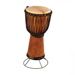 This is a product image of drum stand for 65cm high wooden djembe or wide top 60cm high wooden djembe