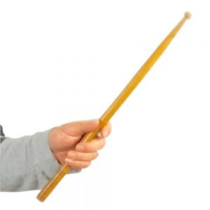 Image showing Andy Gleadhill holding the beater to play triangle instrument.