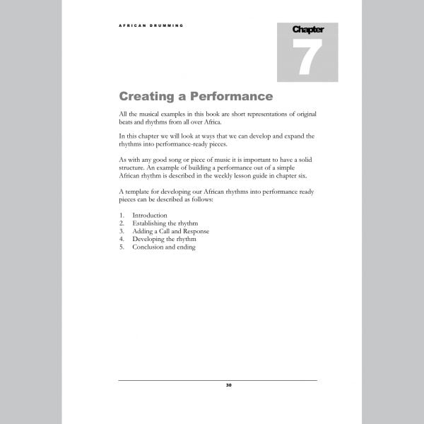 Image showing Performance page from Andy Gleadhill's African Drumming Teaching Guide.