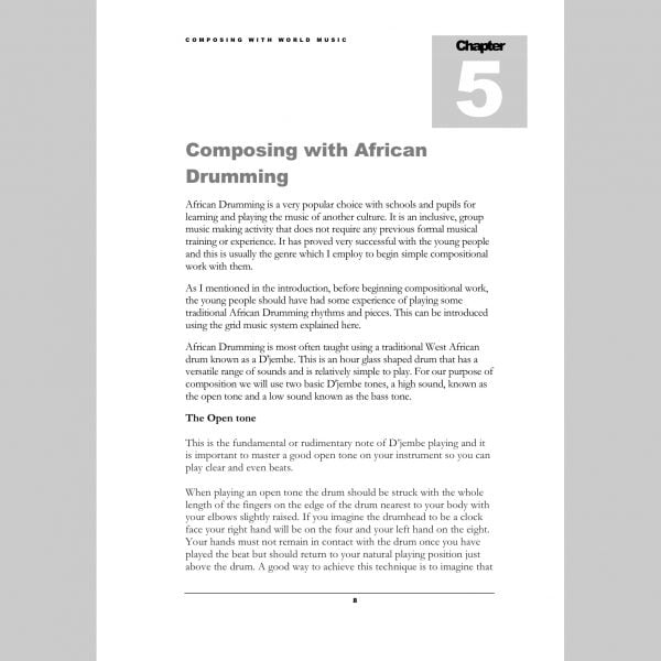 Image showing a page from Andy Gleadhill's Composing World Music Teaching Guide -African Drumming