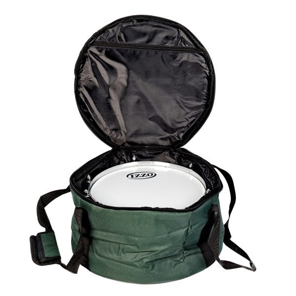This is product image of Drums for Schools' storage carry bag for 12 inch diameter caixa, opened.