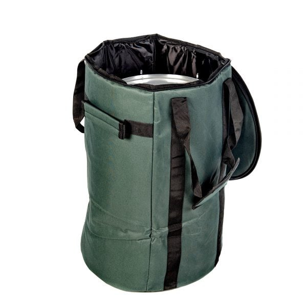 This is product image of Drums for Schools' storage carry bag for 12 inch diameter repinique and caixa, opened.