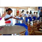 Action shot of students playing Brazilian Samba in Andy Gleadhill's workshop