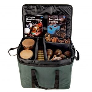 This is a product image of Drums for Schools' world percussion 30 player class pack 2 bag.