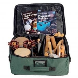 This is a product image of Drums for Schools' world percussion 15 player budget class pack 2 bag