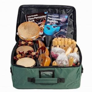 This is a product image of Drums for Schools' world percussion 30 player budget class pack 2 bag