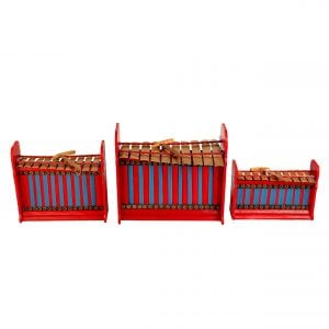 This is a product image of Drums for Schools Set of Gamelan Budget 10 key - Small, Medium, Large. The three sizes gamelan are placed in a row.