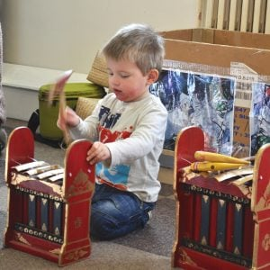 Action shot of students play Gamelan budget 4 key 3 pack