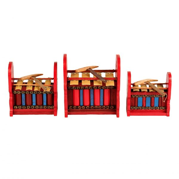 This is a product image of Drums for Schools Set of Gamelan Budget 4 key - Small, Medium, Large. The three sizes gamelan are placed in a row.