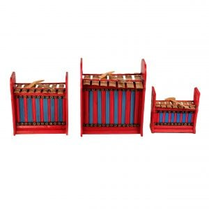 This is a product image of Drums for Schools Set of Gamelan Budget 7 key - Small, Medium, Large. The three sizes gamelan are placed in a row, shoot in diagonal angle.