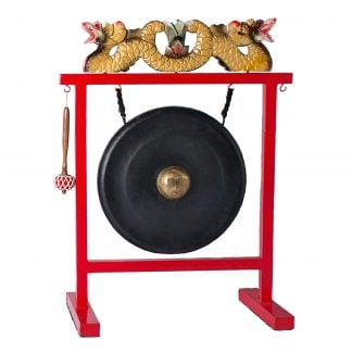 This is a product image of Drums for Schools Set of Gong 50cm diameter with Gong Stand and beater. The stand is in red colour and has a beautiful dragon carving on the head and hooks to hold the gong and beater.
