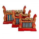 This is a product image of Drums for Schools Set of Gamelan Standard 7 key - Small, Medium, Large. The three sizes gamelan are placed close to each other.