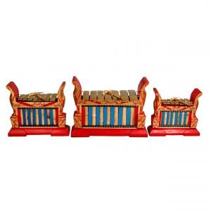 This is a product image of Drums for Schools Set of Gamelan Standard 7 key - Small, Medium, Large. The three sizes gamelan are placed in a line.